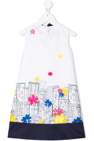 Il Gufo Sleeveless abstract city print dress