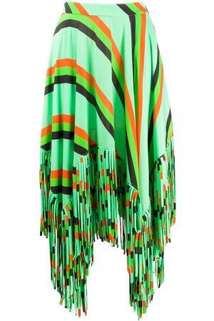 Msgm Asymmetric fringed A-line skirt