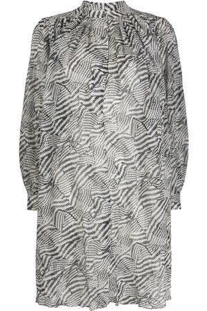 Isabel Marant Abstract-print gathered shift dress