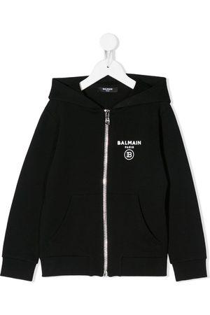 Balmain Logo print zipped hoodie