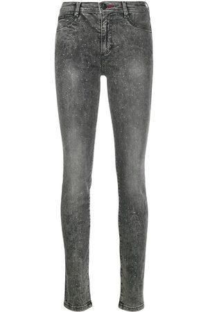 Philipp Plein High-waist crystal jeggings - Grey