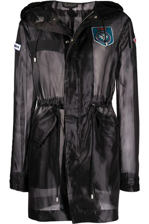 Mr & Mrs Italy Embroidered detail sheer parka coat