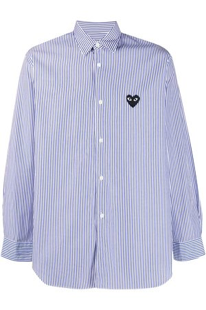 Comme des Garçons Striped embroidered logo shirt