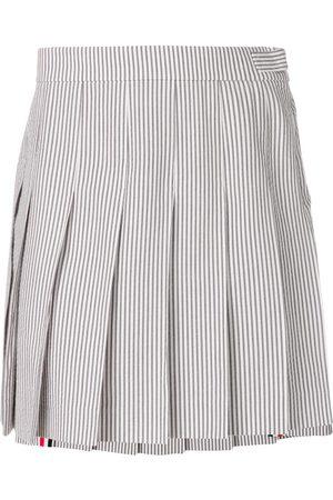 Thom Browne Women Mini Skirts - Seersucker Mini Pleated Skirt - Grey