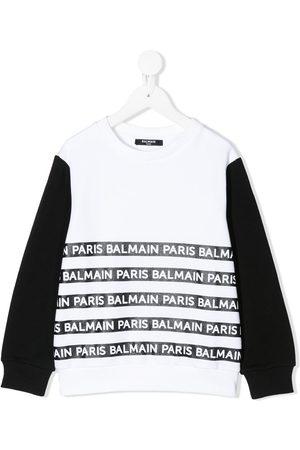 Balmain Kids Two-tone logo-print sweatshirt