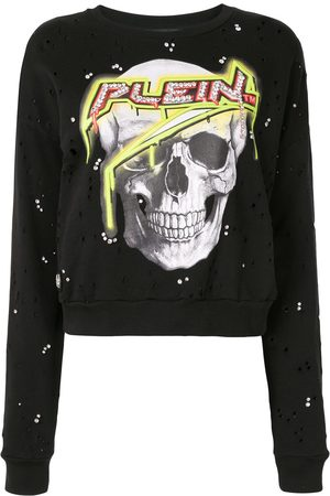 Philipp Plein Skull print distressed effect sweatshirt