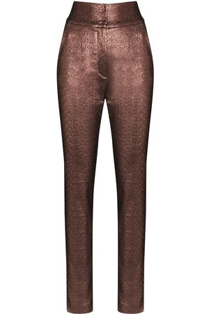 Dolce & Gabbana High-waisted lamé trousers - Metallic