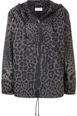 Saint Laurent Women Bomber Jackets - Leopard print hooded bomber - Grey