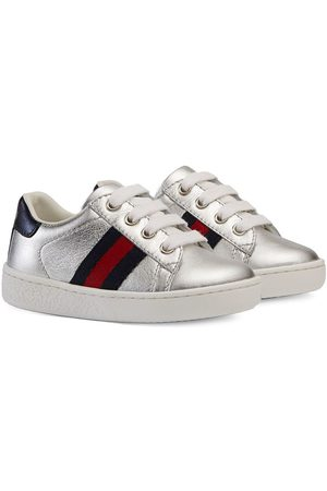 Gucci Leather low-top with Web - Metallic