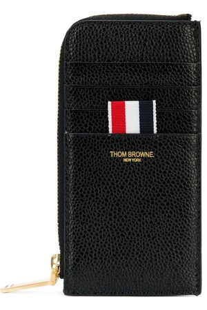 Thom Browne Half Zip Around Wallet In Pebble Grain