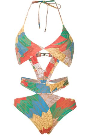 AMIR SLAMA Printed cut out swimsuit - Multicolour