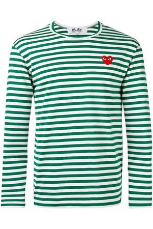 Comme des Garçons Striped heart embellished top