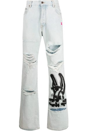 OFF-WHITE Bunny-print bleached-effect jeans
