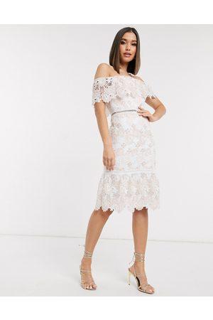 Chi Chi London High neck lace pencil midi dress in blush