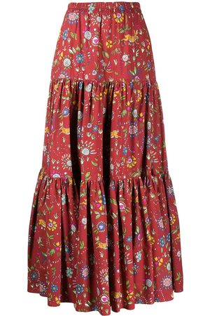 La DoubleJ Floral print tiered maxi skirt