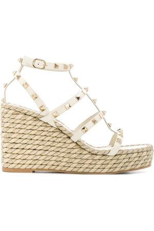 VALENTINO GARAVANI Women Wedges - Rockstud rope wedge sandals - Neutrals