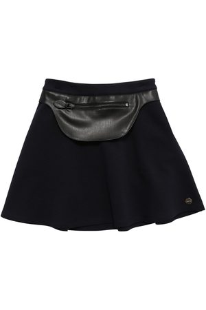 Lanvin Milano Jersey Skirt W/faux Leather Patch