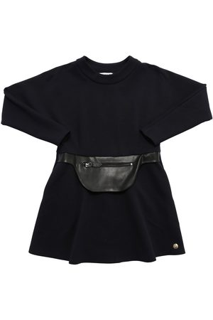 Lanvin Milano Jersey Dress W/faux Leather Patch