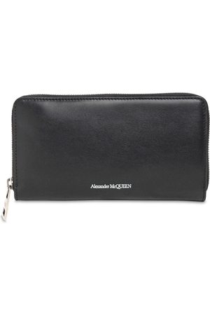 Alexander McQueen Logo Print Leather Zip Wallet