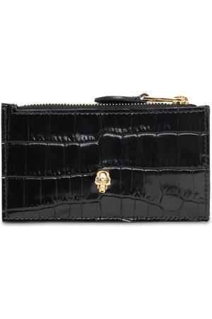 Alexander McQueen Croc Embossed Leather Wallet