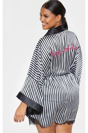 PRETTYLITTLETHING Plus Striped Satin Robe