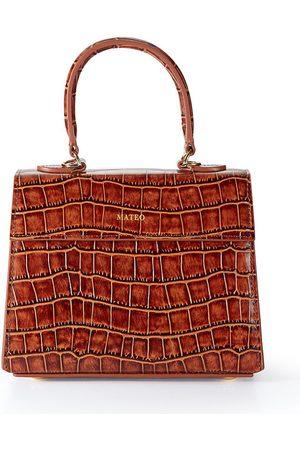 Mateo Cognac Embossed Croc Elizabeth Bag