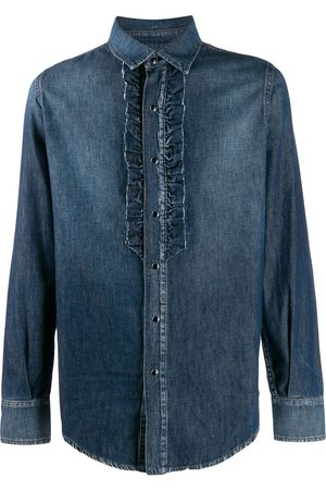 Saint Laurent Men Denim - Ruffle detail denim shirt