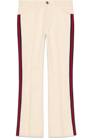 Gucci Women Wide Leg Pants - Denim flare pant with Web