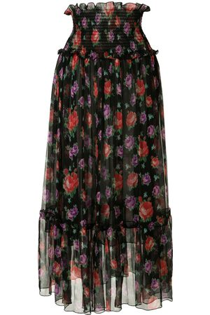 Msgm Floral print mid-length skirt