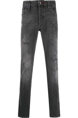 Philipp Plein Denim embellished logo jeans - Grey