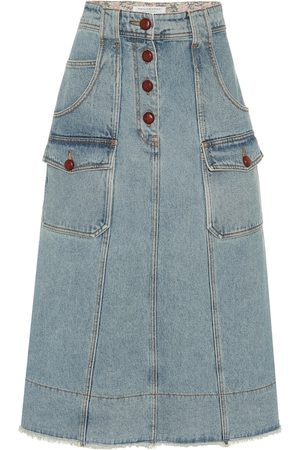 Serafini High-rise denim mini skirt