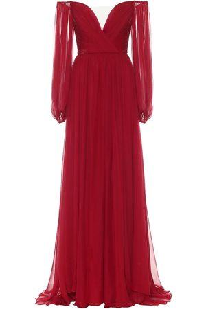 MONIQUE LHUILLIER Off-shoulder silk-chiffon gown