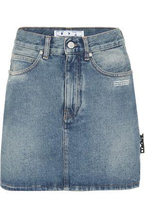 OFF-WHITE Denim straight-fit miniskirt