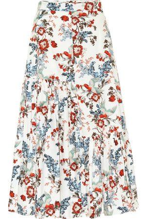 Erdem Gaura floral cotton-poplin midi skirt