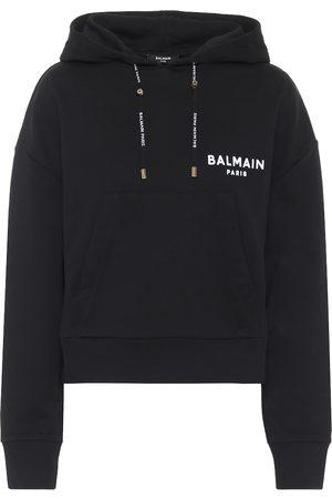 Balmain Logo cropped cotton hoodie