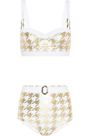 Balmain Exclusive to Mytheresa – Houndstooth-printed bikini