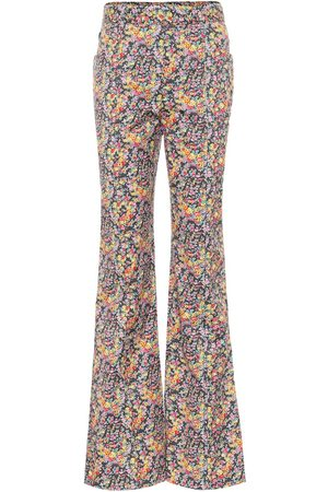 Serafini High-rise floral flared pants