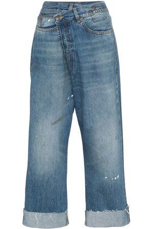 R13 Crossover asymmetric high-rise straight-leg jeans