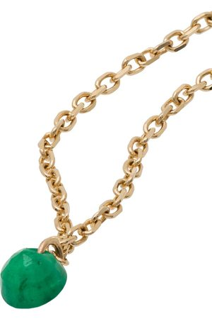 PERSÉE 18kt emerald-pendant chain ring - /