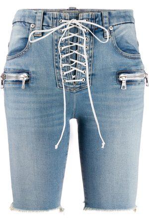 Unravel Project Lace-up denim shorts
