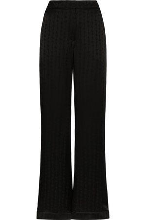 OFF-WHITE Women Wide Leg Pants - Alphabet-print wide-leg trousers