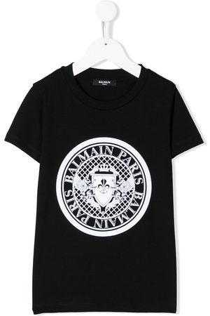 Balmain Short sleeve logo stamp T-shirt