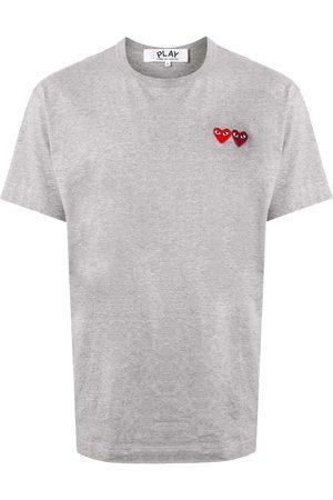 Comme des Garçons Double heart appliquéd T-shirt - Grey