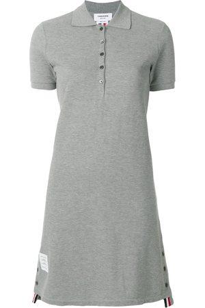 Thom Browne Striped Cotton Pique Polo Dress - Grey