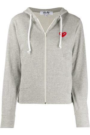 Comme des Garçons Zipped almond eye heart hoodie - Grey