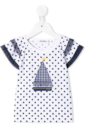 Familiar Polka dot wide-sleeves T-shirt