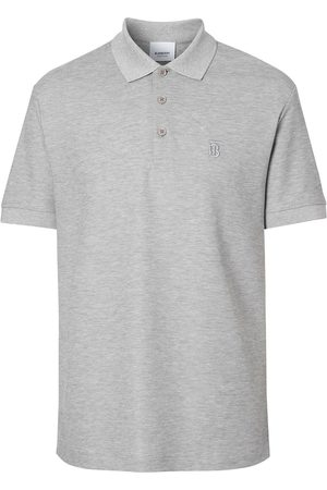 Burberry Monogram Motif Cotton Piqué Polo Shirt - Grey
