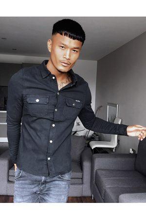 Liquor N Poker Muscle fit denim shirt in