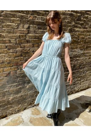 & OTHER STORIES & eco cotton square neck smock midaxi dress in blue