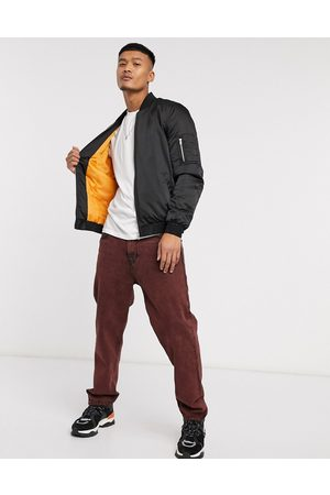 ASOS MA1 padded bomber jacket in with orange lining